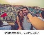 tourism in morocco. happy... | Shutterstock . vector #738438814