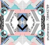 seamless geometric pattern in... | Shutterstock .eps vector #738442789