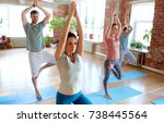 fitness  meditation and healthy ... | Shutterstock . vector #738445564