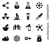 16 vector icon set   molecule ... | Shutterstock .eps vector #738446959
