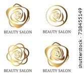 flower logo set for beauty... | Shutterstock .eps vector #738455149