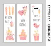 happy birthday banner set ... | Shutterstock .eps vector #738461131