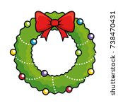 merry christmas wreath crown | Shutterstock .eps vector #738470431