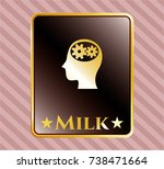 shiny badge with head with... | Shutterstock .eps vector #738471664