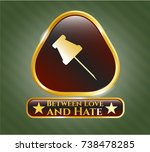 gold shiny emblem with paper... | Shutterstock .eps vector #738478285