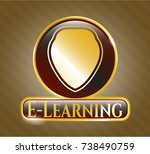 golden emblem with shield icon ... | Shutterstock .eps vector #738490759