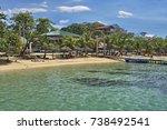 west bay beach in isla roatan ... | Shutterstock . vector #738492541