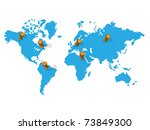 blue word map with pins | Shutterstock .eps vector #73849300