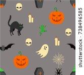 halloween seamless texture | Shutterstock .eps vector #738496585