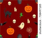 halloween seamless pattern | Shutterstock .eps vector #738497185