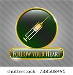 golden badge with syringe icon ... | Shutterstock .eps vector #738508495