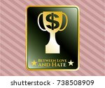 gold badge or emblem with... | Shutterstock .eps vector #738508909