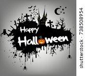 banner happy halloween on... | Shutterstock .eps vector #738508954