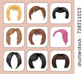 set of woman hair styling... | Shutterstock .eps vector #738511015