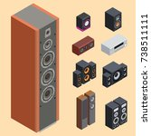 home isometric sound system... | Shutterstock .eps vector #738511111