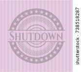 shutdown realistic pink emblem | Shutterstock .eps vector #738518287