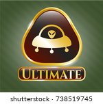 shiny emblem with ufo with... | Shutterstock .eps vector #738519745