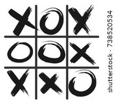 tic tac toe game icon  black... | Shutterstock .eps vector #738520534