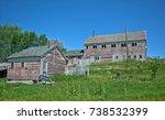 weather beaten old wooden farm... | Shutterstock . vector #738532399