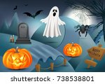 happy halloween background with ... | Shutterstock .eps vector #738538801