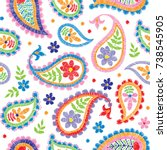 vector seamless embroidery... | Shutterstock .eps vector #738545905