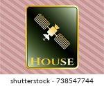 golden badge with satelite...   Shutterstock .eps vector #738547744