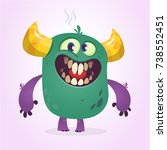 angry cartoon cute monster.... | Shutterstock .eps vector #738552451