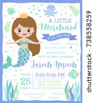Stock vector cute mermaid and sea life cartoon for party invitation card template 738558259