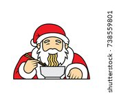 santa claus eating noodles icon ... | Shutterstock .eps vector #738559801