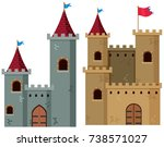 Two Castle Towers With Flags...