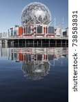 Small photo of FALSE CREEK, VANCOUVER, CANADA - OCTOBER 2017: 'Science World at Telus World of Science', British Columbia's science center and museum - reflections of the building over False Creek.