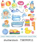 watercolor children and bath... | Shutterstock . vector #738590911
