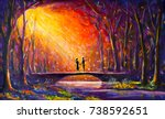 original oil painting lovers on ... | Shutterstock . vector #738592651