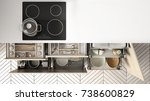 modern kitchen top view  opened ...   Shutterstock . vector #738600829