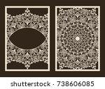 set of 2 wedding invitation or...   Shutterstock .eps vector #738606085
