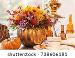 beautiful autumn composition in ... | Shutterstock . vector #738606181