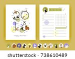 cover and template planner with ... | Shutterstock .eps vector #738610489