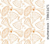 seamless pattern with pizza ... | Shutterstock .eps vector #738611671