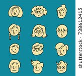 set of cute face icons for... | Shutterstock .eps vector #738612415