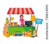 yard sale vector. household... | Shutterstock .eps vector #738614041