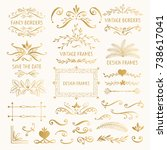 set of golden vintage frames... | Shutterstock .eps vector #738617041