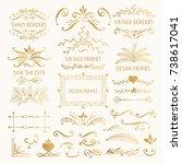 set of golden vintage frames... | Shutterstock .eps vector #738617041