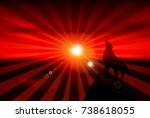 dog new year's cards sunrise... | Shutterstock .eps vector #738618055
