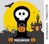 happy halloween | Shutterstock .eps vector #738621745