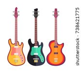 three electro guitars flat... | Shutterstock .eps vector #738621775