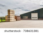 dutch fruit farm building and... | Shutterstock . vector #738631381