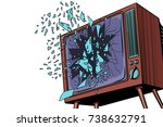 tv explodes  broken screen. pop ... | Shutterstock .eps vector #738632791