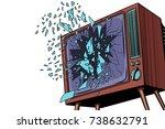 tv explodes  broken screen. pop ... | Shutterstock .eps vector #738632791