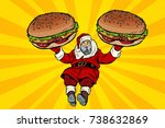 santa claus with two burgers ... | Shutterstock .eps vector #738632869