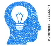 grunge intellect bulb icon with ... | Shutterstock .eps vector #738633745